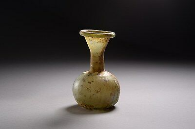 Ancient Roman Green Glass Ribbed Flask / Toilette Bottle - 2nd Century AD