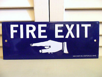Vintage Fire Exit Pointing Finger Hand Sign Embossed Tin Original Made in USA