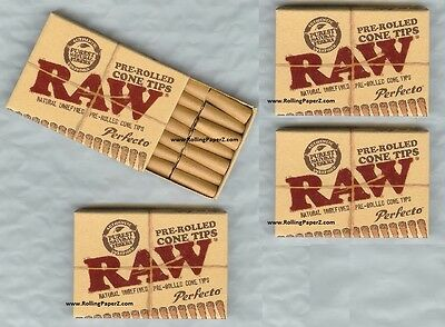 FOUR Box Packs PERFECTO All Natural PreRolled CONE TIPS RAW ROLLING PAPERS BRAND