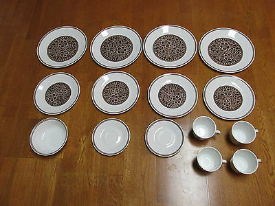 Corelle Dinnerware Brown Flower Lot Of 15 Euc