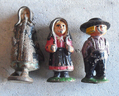 "Lot of 3 Antique 1920 Cast Iron Amish Children Figures 2 1/2 to 3"" Tall"