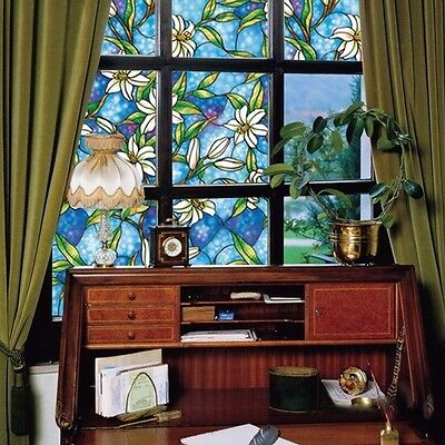 2 Meter Long Blue Orchid Privacy Stained Glass Window Static Cling Film Décor