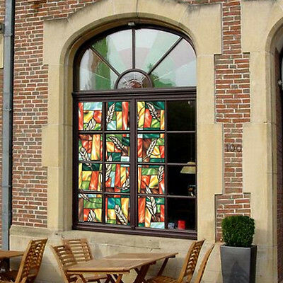 1.5m Long Feather Privacy Stained Glass Window Decor Vinyl Static Cling Film