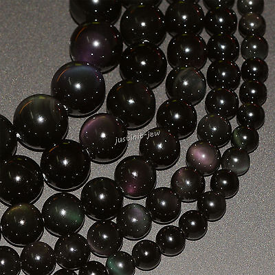 Natural A grade rainbow obsidian round beads strand 6mm 8mm 10mm 12mm 14mm 16mm