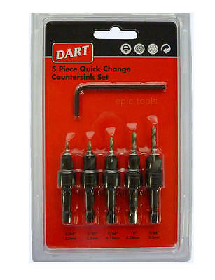 "DART 5 Piece HSS Wood Countersink With Pilot Drill 1/4"" Hex-Drive Set, DCSSET5"