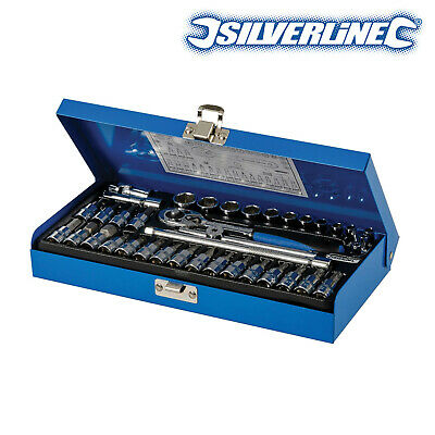 "Silverline Socket Wrench Set 1/4"" Drive Metric Automotive Garage Tools (38 Pce)"