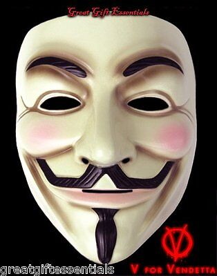 V FOR VENDETTA Costume MASK LICENSED Guy Fawkes Occupy Anonymous Natalie NEW USA