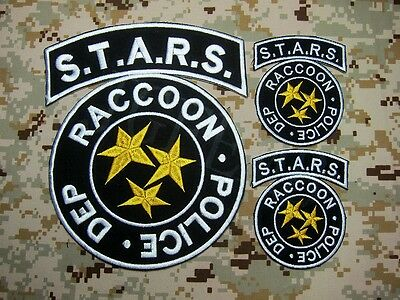 A SET Black Resident Evil Umbrella STARS Reccoon in the rear Embroidery Patch