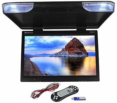 "Rockville RVM25FD-BK 25"" TFT Black Flip Down Car Monitor w/ USB/SD/Video Games"