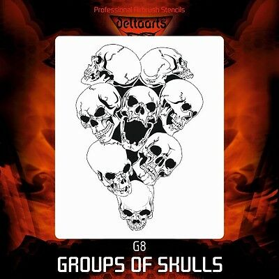 Airbrush stencil template DELTAARTS pile group of skulls G8 MINI  MID  XXL SIZE