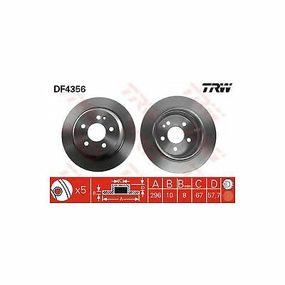 TRW Rear Brake Discs Pair Genuine OE Quality Service Part