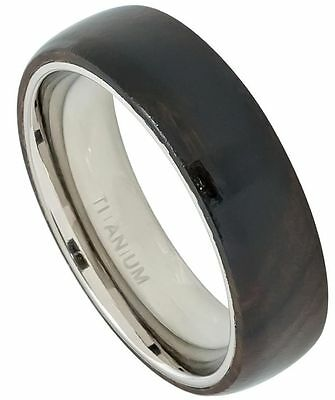6mm Titanium Men Women Wedding Band Ring Domed with African Black Wood Inlay NEW