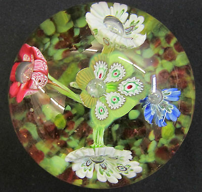 Vintage MURANO FLORAL PAPERWEIGHT Glass Art Large Red Green Blue White Yellow