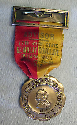 1947 DEMOLAY CONCLAVE ADVISOR NAME RIBBON MEDAL OLYMPIA 17th WASHINGTON STATE