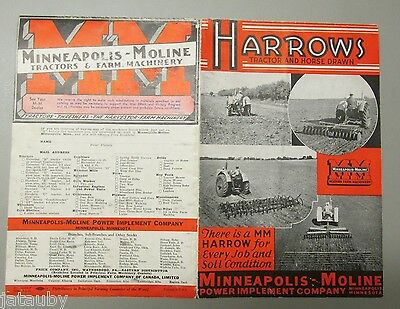 Vintage 1941 MINNEAPOLIS MOLINE MM TRACTOR HORSE DRAWN HARROW DEALER AD BROCHURE