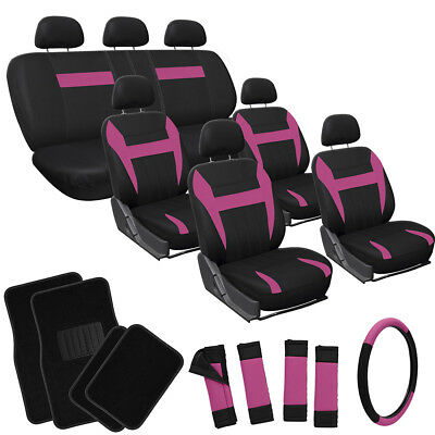 26pc Complete Pink Black Suv Auto Car Seat Covers Set Wheel Belts