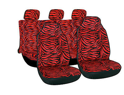 10pc Full Integrated Red Zebra Animal Print High Back TRUCK Car Seat Cover 2D
