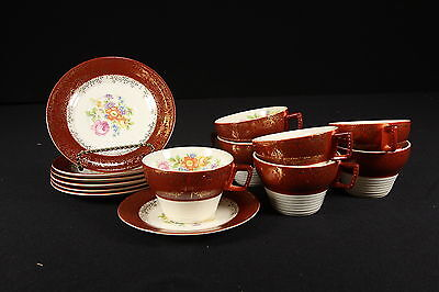 Vtg American Limoges Triumph 7 Cups & Saucers Meissen Rose Maroon 22-K Gold