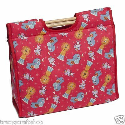 Knitting Bag Craft Storage Circus Pattern featuring sturdy wooden handles