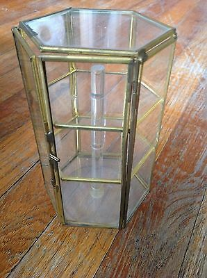 Vintage  Brass Glass Table Top Curio Cabinet Display Shelf Case box carousel