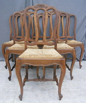 2925   !!!AMAZING FRENCH OAK SET OF 6 CHAIRS IN LOUIS XV STYLE !!!
