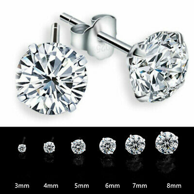 925 Sterling Silver Round Cubic Zirconia CZ 4 Claw Stud Earrings UNISEX Gift Bag