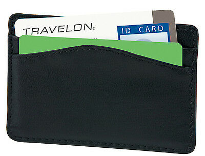 Travelon Rfid Blocking Leather Card Case-Black/same Day World Wide Shipping!!!