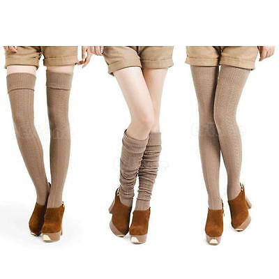 New Knee Socks Womens High Thigh Cable Knit Long Stocking Winter Warmer Leggings
