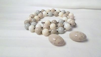 Vintage Plastic Pale Blue Brown Pink & Gray Bead Necklace & Clip On Earrings Set