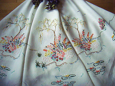 Vintage Hand Embroidered Linen Tablecloth Cottage Garden Ponds Trees Birds