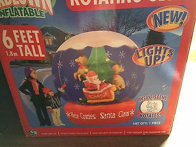 GEMMY AIRBLOWN INFLATABLE HERE COMES SANTA CLAUS ROTATING GLOBE 6 FT