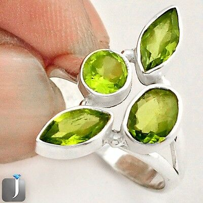 4.27cts NATURAL GREEN PERIDOT 925 STERLING SILVER RING JEWELRY SIZE 7.5 E42532