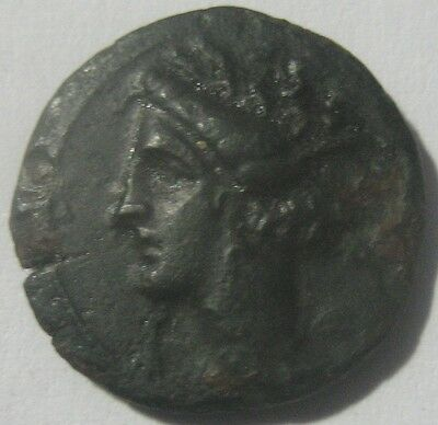 PUNIC SICILY 400 b.C  BRONZE with TANIT   RARE  COIN in EXCELLENT CONDITION