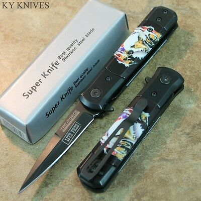 "7"" TAC FORCE American Eagle Assisted Open Pocket Knife ""LIVE FREE"" TF-674E zix"