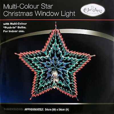 Outdoor hanging multicolour christmas decoration rope star for 17 clear lighted star christmas window silhouette decoration