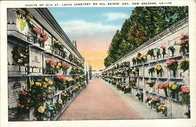 New Orleans vaults all Saints day vintage cemetery postcard