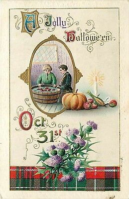 Halloween, Gottschalk No 2504-1, Woman Bobbing for Apples with Fork in Her Mouth