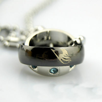 2014 New Fairy tail Double-Deck Rotating ring Metal Necklace Pendant Xmas'gift