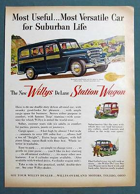 8 by 11 Original 1953 De Luxe Willys Station Wagon Ad MOST VERSATILE CAR
