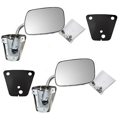 New Pair Set Manual Side view Mirror Chrome Chevrolet GMC Pickup Truck SUV Van