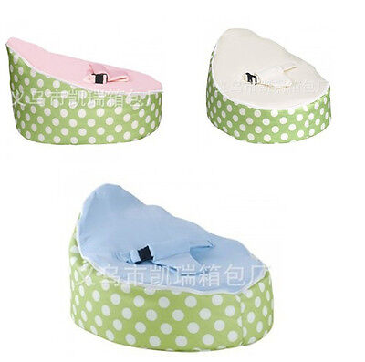 New UNFILLED Green White Dots 2 Layer Baby Bean Bag Todler Kid Portable Seat