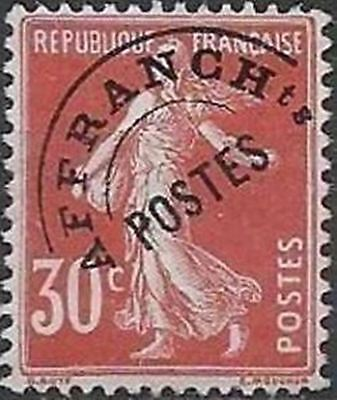 """FRANCE PREOBLITERE TIMBRE STAMP N° 58 """" TYPE SEMEUSE 30C ROUGE """" NEUF xx TTB"""