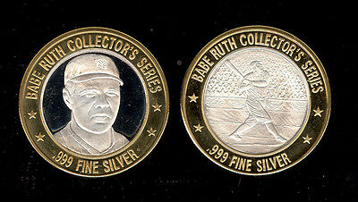 2 Diff Babe Ruth * .999 Fine Silver Strike Tokens W/ Brass Ring * Free Ship * G9