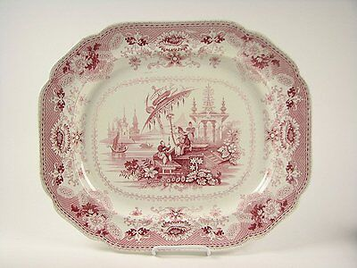 "Red Staffordshire Transferware ""Oriental"" pattern Large Platter circa 1835"