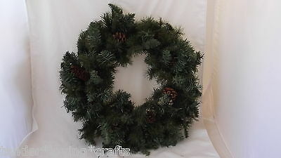 """24"""" Wreath~3 Kinds Of Green Pine~Pinecones~ Xmas~Crafts,decorate Yourself"""
