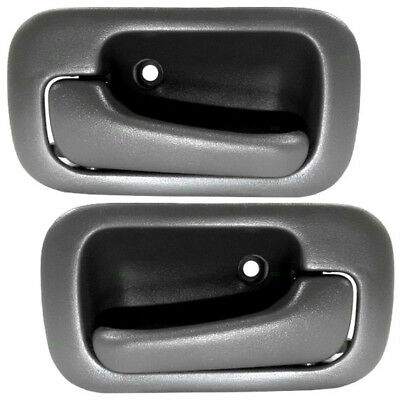 New Pair Set Inside Inner Interior Door Handle Gray Assembly 92-95 Honda Civic