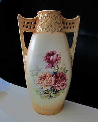 ANTIQUE HAND PAINTED FLOWERS VASE WI/ HANDLES URN  MADE IN AUSTRIA   lot 2