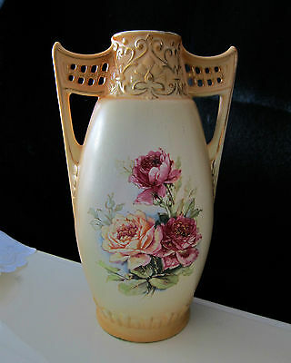 ANTIQUE HAND PAINTED FLOWERS VASE WI/ HANDLES URN  MADE IN AUSTRIA   lot 11