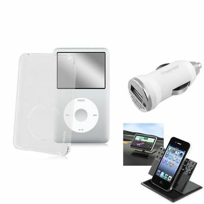 Clear Crystal Case+1A Charger+Car Holder Mount For iPod Classic 80GB 120 GB