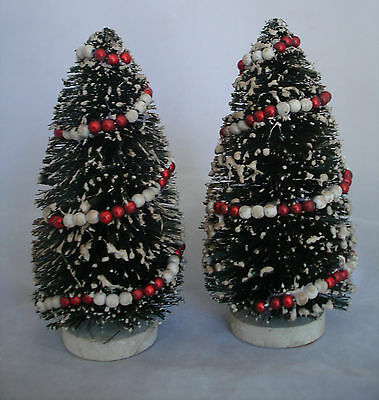 "6"" Bottlebrush green Tree w red/white garland ~Ragon House Vintage style NEW 2pc"